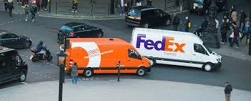 TNT and FedEx courier vans